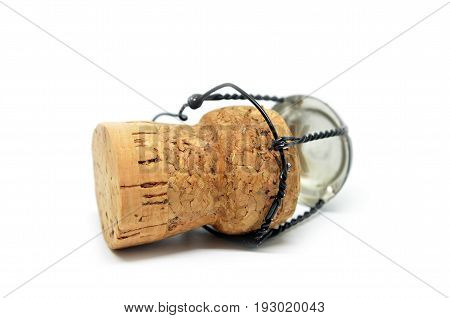 Cork from champagne bottle isolated on the white background