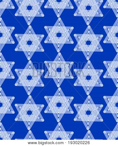 Star of David decoration tile with geometric vintage yew ornament white stars on dark blue background design eps10 vector. Seamless background with religious motif.