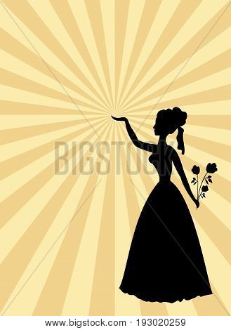 Woman black silhouette on beige and gold rays patterned background. Lady with roses bouquet and raised hand. Template in old style for party or ball invitation