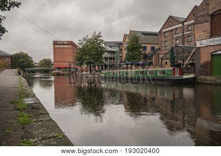 Nottingham/England - September 29 2010:Nottingham canal and British Waterways building.