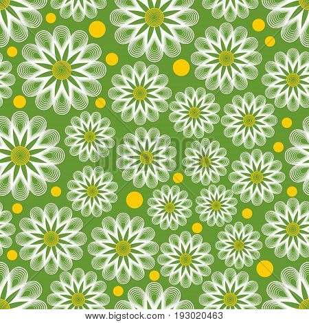Light green seamless vector background with outline white marguerites and yellow dots. Cheerful background for spring design. Concept for textile or wrapping paper print.