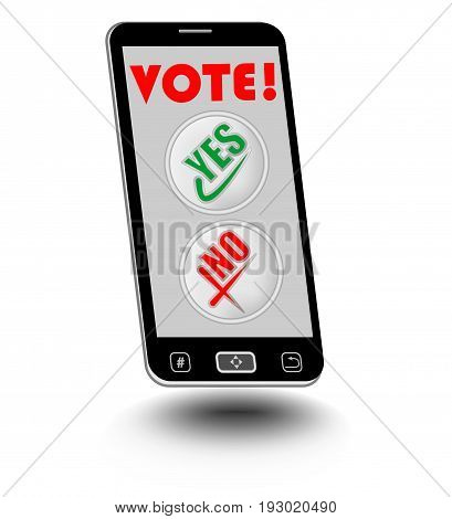 Smart phone with Vote display and buttons Yes No. Vote easy using smart phone.