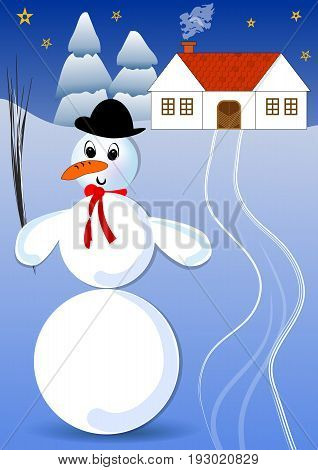 Snowman with bowler hat and red scarf in a snowy landscape with rural house and spruce trees. Dusky winter idyllic image, the snow lit up the darkened landscape