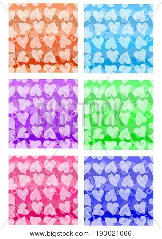 Set of cheerful patterns with heart shape in different color variants. Textile color sampler. Vector EPS10 seamless background