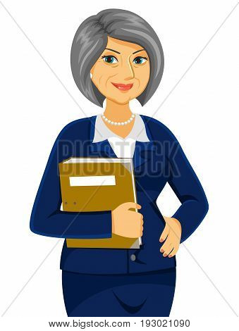 senior business women  holding a folder and looking confident