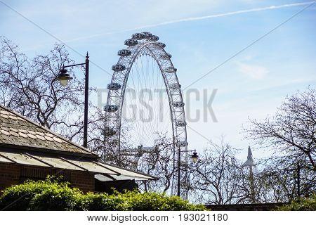 LONDON, UNITED KINGDOM - MAY 6: Detail of London Eye on May 6, 2011 in London, UK. London Eye is the tallest Ferris wheel in Europe at 135 meters .