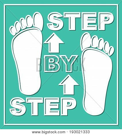 Step by step emblem. Presentation graphic element for working process in steps. Pictogram with white foot traces and arrows on white background.