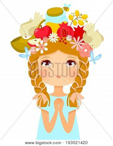 girl's head decorated with symbols of Rosh Hashanah (Jewish New Year)