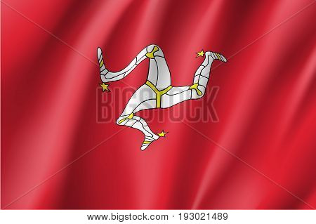 Isle of Man in the British Isles national flag, triskelion of three armoured legs with golden spurs, upon a red backgroun. Vector realistic style illustration