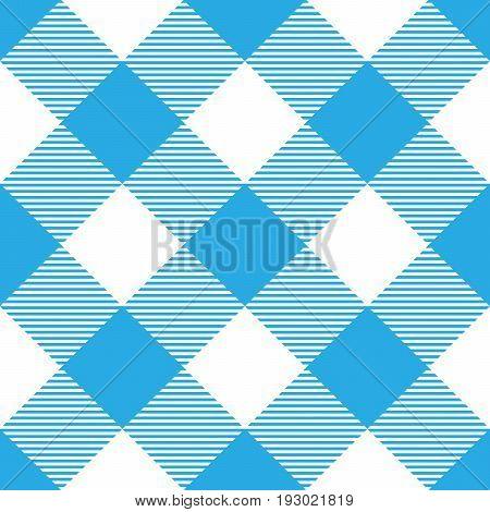 Lumberjack plaid pattern in blue and white. Diagonal arrangement. Seamless vector pattern. Simple vintage textile design.