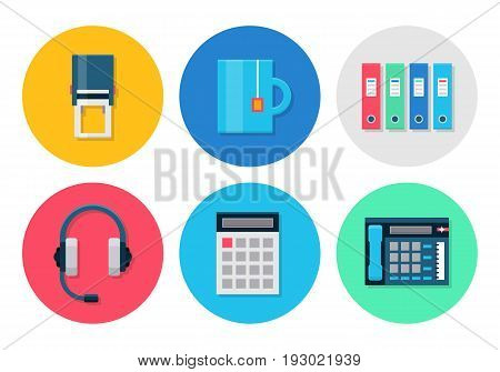 Office flat icons. Icons set for office or business - headset, calculator and stamp, folder, tea cup. Interface vector elements on white background.