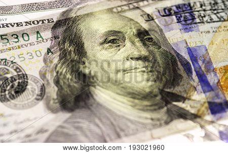 Benjamin Franklin Face On Us Hundred Or 100 Dollars Bill Macro, United States Money Closeup.