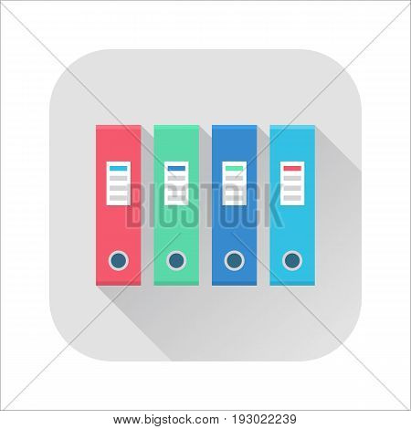 Office folder flat icon. Ring binder in a row, file folder in pink, green, purple and blue color, office supply set. Vector flat style cartoon illustration with long shadow on gray background. Business concept