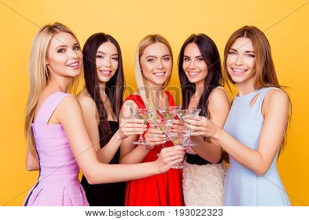 Ready To Party Ladies! Cheers To A Bride! Four Cute Bridemaids And A Future Bride Are Toasting At Th