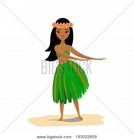Hawaiian girl dancing hula isolated on white background. Cute polynesian dancer in costume and flower hair wreath.