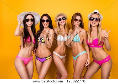Joy, Funky, Chill, Bachelor Party Mood. Five Hot Bridemaids Are Posing In Trendy Swimming Suits And