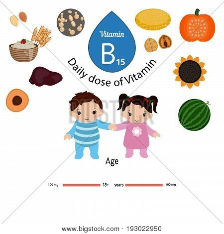 Vitamin B15 or Pangamic Acid and vector set of vitamin B15 rich foods. Healthy lifestyle and diet concept. Pangamic acid. Daily doze of vitamin B15.