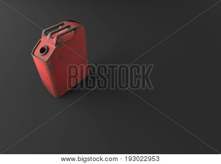 3D RENDERING OF OLD RUSTIC METAL CANISTER ON PLAIN BLACK BACKGROUND