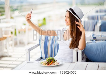 Selfie Time! Profile Photo Of Young Lady, Having Lunch On A Summer Open Air Light Terrace Outdoors.