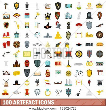 100 artefact icons set in flat style for any design vector illustration
