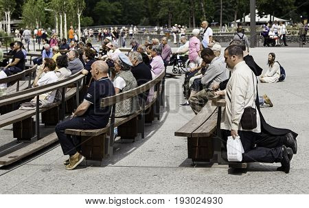 Lourdes, France - July 12, 2017: The Sanctuary Of Our Lady Of Lourdes, The Destination For Pilgrimag