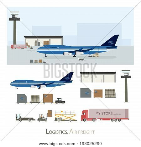 Logistics and Warehousing. Airport with air freighter and and some specialized vehicles for chartering.