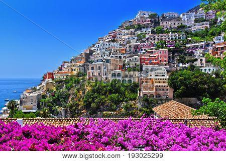 City Of Positano On Amalfi Coast, Italy