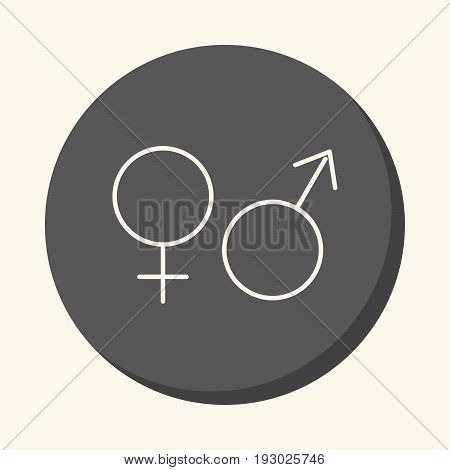 Signs of man and woman Mars and Venus vector line icon with the illusion of volume simple color change