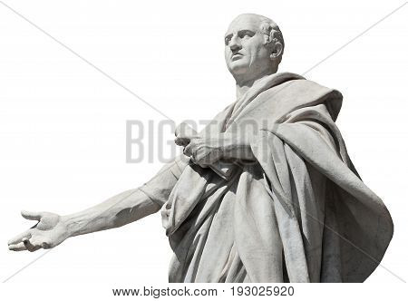 Cicero the greatest orator of the Ancient Rome marble statue in front of the Old Palace of Justice in Rome (isolated on white background)