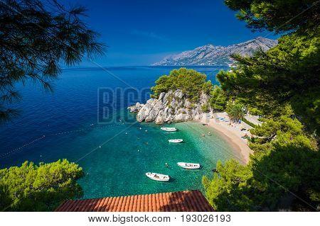 aerial view of the small Podrace beach in Brela Croatia