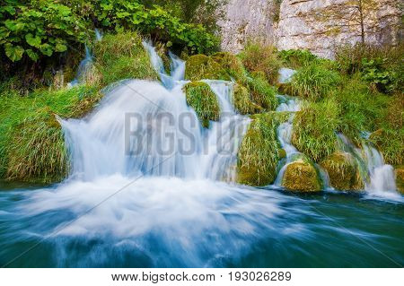 small waterfall in Plitvice National Park Croatia