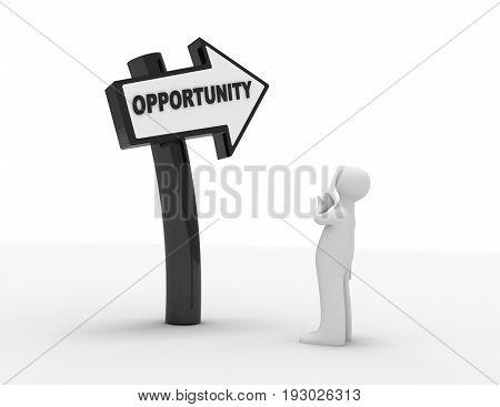 3d people - man person and directional sign . 3d rendered illustration