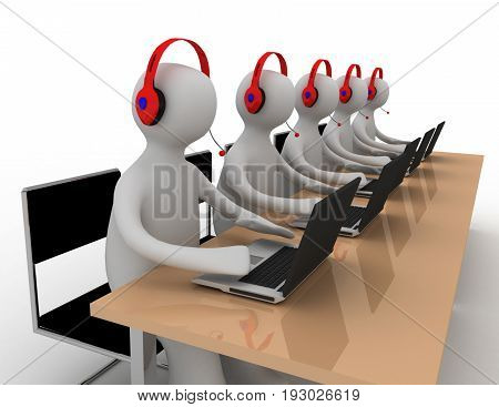 persons work on laptop . 3d rendered illustration
