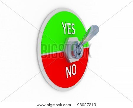 3d yes no switcher . 3d rendered illustration