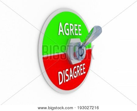 3d agree disagree switcher . 3d rendered illustration