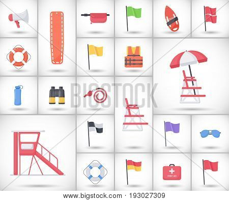 Lifeguard equipment flat vector icons set big set of design beach safety objects with round shadow isolated on the white background vector illustration
