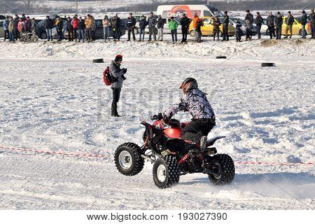 SANTIOANA DE MURES ROMANIA - January 22: Ice Racing 2017 local winter motorsport competition on a frozen lake in Santioana de Mures Romania