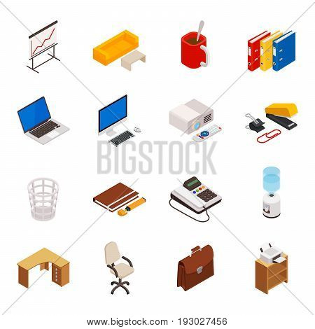 Big set of 3D isometric volumetric of icons on a theme of office equipment. Vector icon set.