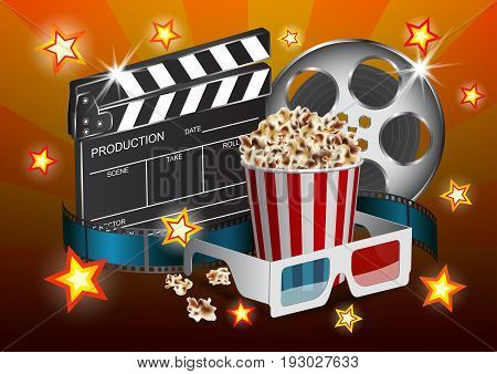 Vector illustration for the cinema - clapper film tape stereo glasses box of popcorn and star