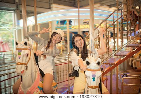 Beautiful Sisters With Family Sightseeing Trip