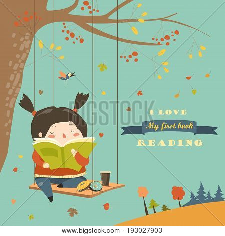 Cute girl swinging and reading a book in autumn park. Vector illustration