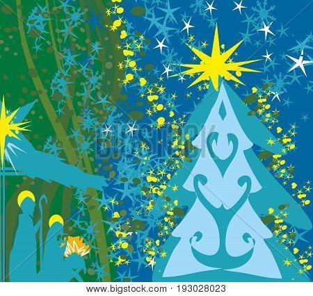 Christian Christmas nativity scene of baby Jesus , vector illustration