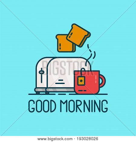 Good morning card. Toaster and a cup of tea Vector modern line outline flat style cartoon illustration. Isolated on blue background.Concept good morning creative card