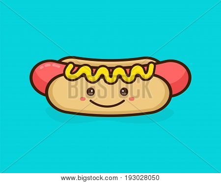 Cute happy smiling tasty hot dog. Vector modern line outline flat style cartoon character illustration. Isolated on blue background.Concept creative card logo for street food hot dog cafe