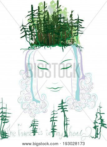 Surreal face of a girl. Eco design silhouette of a girlish forest river hair is isolated. Vector illustration art happy woman head forest branch foliage.Goddess of the forest.
