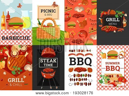 Barbecue grill picnic summer outdoor party weekend 8 banners composition poster with bbq accessories isolated vector illustration