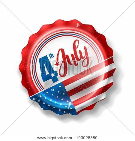 Independence day 4 th july with Soft Drink Bottle Cap.Happy USA Independence Day 4 th July