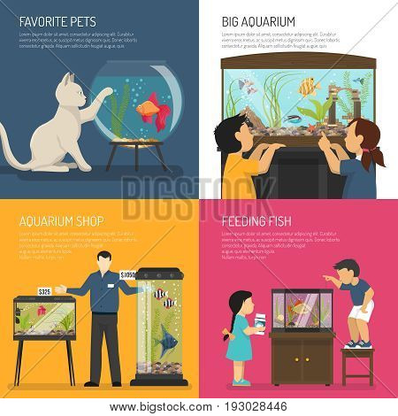 Aquarium design concept compositions set with flat images of aquarian and children characters with fish bowl vector illustration