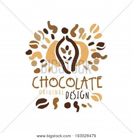 Chocolate label original design, hand drawn vector Illustration, logo template for branding identity restaurant, cafe, confectionery colorful