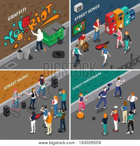 Street artists isometric compositions with musicians and singers, graffiti painters, pantomime actors and audience isolated vector illustration